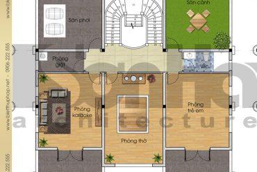 5 Mặt bằng công năng tầng 3 biệt thự tân cổ điển đẹp tại phú thọ sh btcd 0024