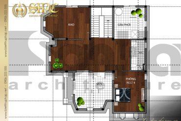 5 Mặt bằng tầng áp mái biệt thự pháp đẹp tại quảng bình sh btp 0024