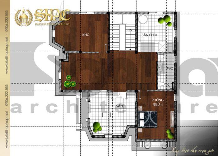 Mặt bằng công năng tầng áp mái biệt thự 2 tầng kiểu pháp đẹp tại Quảng Bình