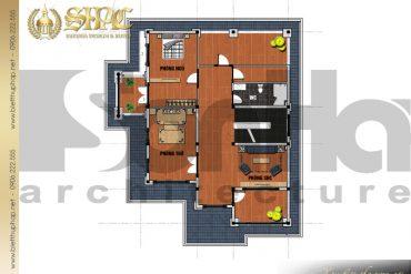 5.Thiết kế mặt bằng công năng tầng 3 biệt thự tân cổ điển đẹp tại hải phòng SH BTCD 0028