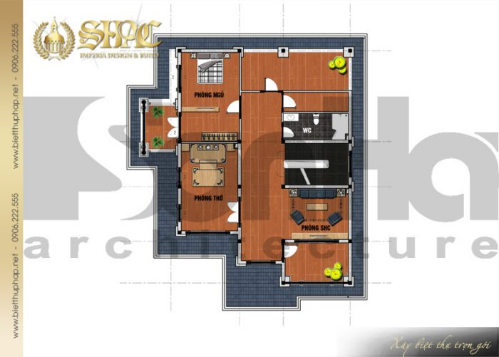 Bản thiết kế công năng tầng 3 biệt thự kiến trúc tân cổ điển mặt tiền 12m tại Hải Phòng