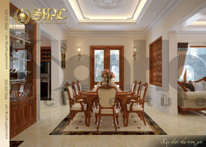 Nội thất không gian phòng bếp ăn biệt thự cổ điển thêm ấm cúng với chất liệu gỗ thịt