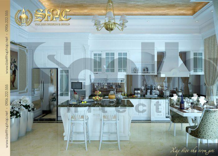 Thiết kế nội thất phòng bếp ăn đẹp của biệt thự pháp toát lên nét sang trọng ấm cúng