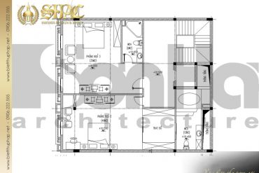 6 Mặt bằng công năng tầng 3 biệt thự pháp cổ tại lạng sơn sh btp 0024