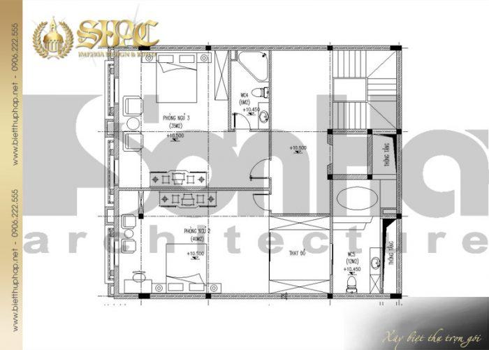 Bản vẽ mặt bằng công năng tầng 3 biệt thự cổ điển kiểu pháp 6 tầng tại Lạng Sơn