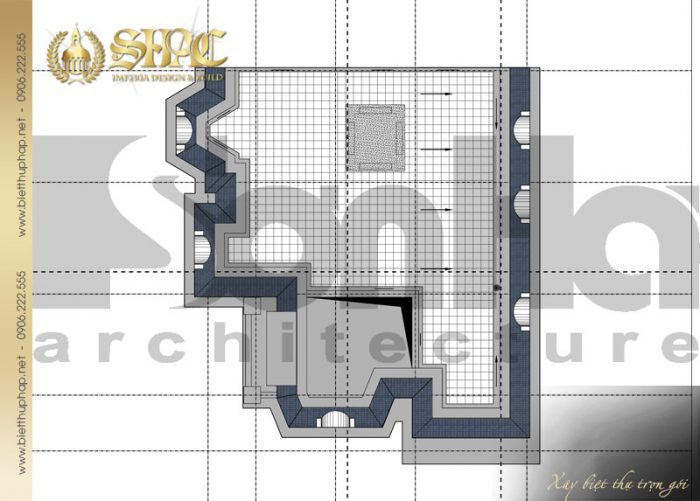 Mặt bằng công năng tầng mái biệt thự kiến trúc pháp 2 tầng đẹp tại Quảng Bình
