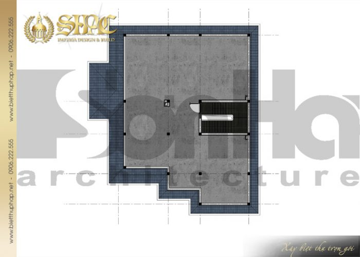 Bản vẽ thiết kế công năng tầng mái của ngôi biệt thự tân cổ điển 3 tầng tại Hải Phòng