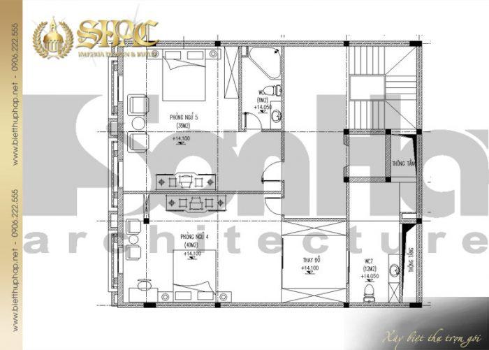 Bản vẽ mặt bằng công năng tầng 4 biệt thự cổ điển kiểu pháp 6 tầng diện tích 12mx14m