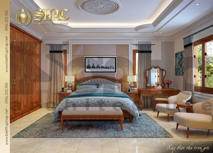 Phương án thiết kế nội thất phòng ngủ đẹp của biệt thự tân cổ điển sang trọng và ấm cúng