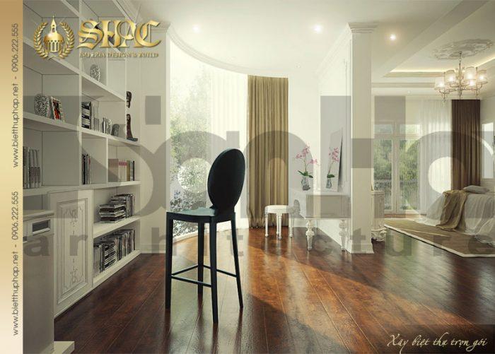 Mẫu thiết kế nội thất biệt thự pháp được bố trí thoáng đãng với nội thất cao cấp