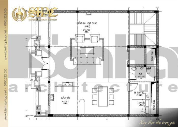 Bản vẽ mặt bằng công năng tầng 5 biệt thự cổ điển kiểu pháp 6 tầng đẹp tại Lạng Sơn
