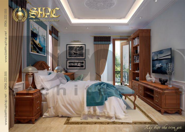 Thiết kế được đánh giá cao của mẫu phòng ngủ biệt thự đẹp với nội thất làm từ gỗ thịt