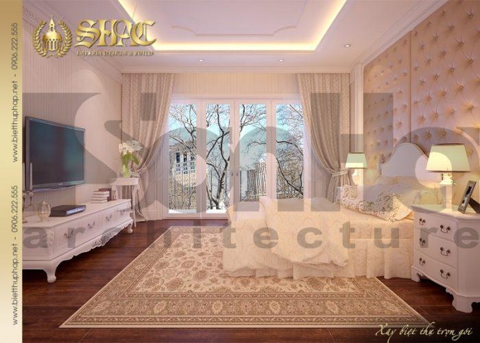 Đây cũng là điển hình của phương án thiết kế nội thất phòng ngủ biệt thự pháp đẹp
