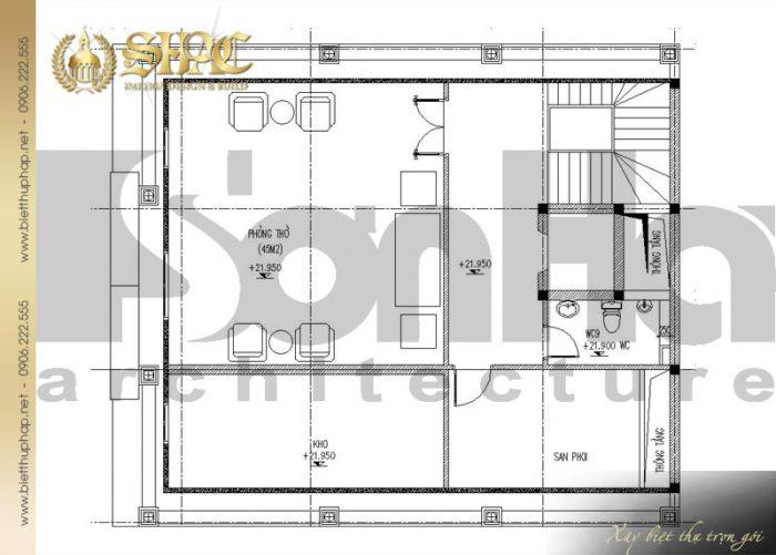 Bản vẽ mặt bằng công năng tầng áp mái biệt thự cổ điển kiểu pháp 6 tầng tại Lạng Sơn