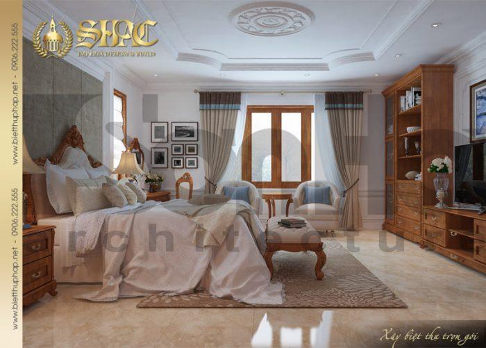 Đây cũng là không gian nội thất phòng ngủ biệt thự tân cổ điển rất được CĐT yêu thích