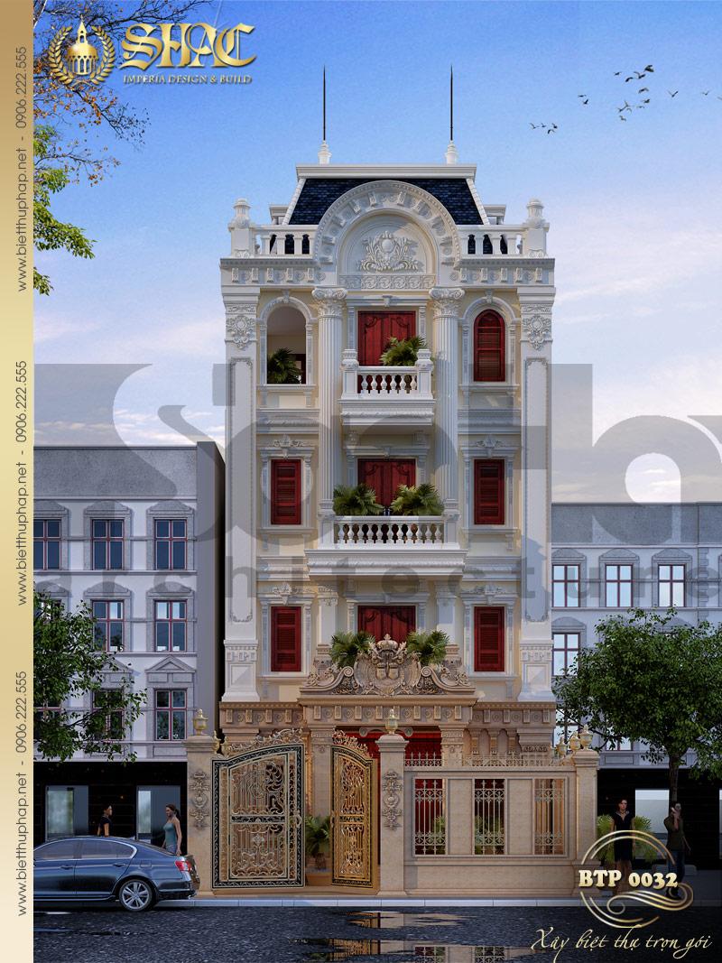 Mẫu thiết kế kiến trúc biệt thự pháp đẹp và sang trọng mặt tiền 8m tại Nam Định