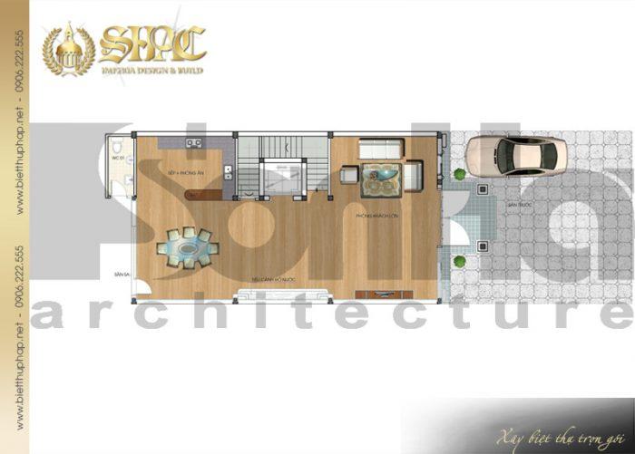 Cách bố trí công năng tầng 1 của ngôi biệt thự kiến trúc pháp 5 tầng tại Nam Định