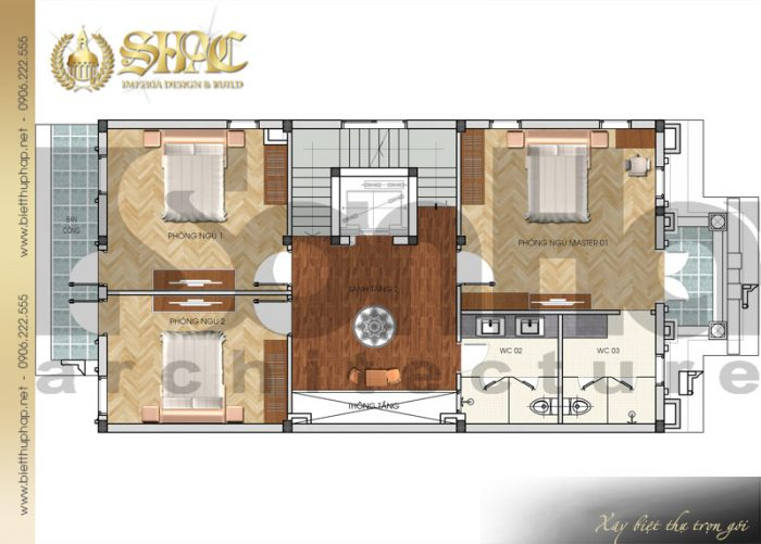 Cách bố trí công năng tầng 2 của ngôi biệt thự kiến trúc pháp 5 tầng tại Nam Định