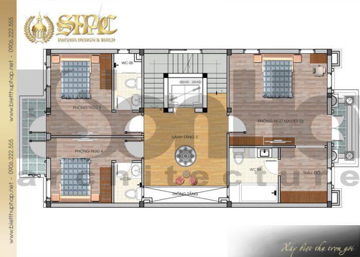 Cách bố trí công năng tầng 3 của ngôi biệt thự kiến trúc pháp 5 tầng tại Nam Định