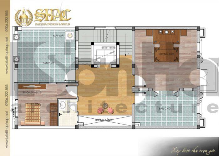 Cách bố trí công năng tầng 4 của ngôi biệt thự kiến trúc pháp 5 tầng tại Nam Định