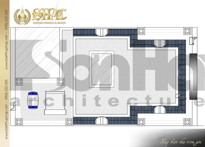 Cách bố trí công năng tầng mái của ngôi biệt thự kiến trúc pháp 5 tầng tại Nam Định