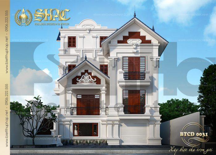 Mẫu thiết kế biệt thự tân cổ điển 3 tầng bố trí công năng khoa học tại Quảng Ninh