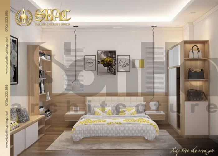 Phương án thiết kế nội thất phòng ngủ biệt thự tân cổ điển nổi bật với gam màu tinh tế