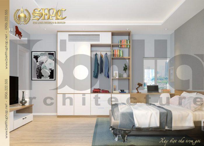 Nội thất phòng ngủ biệt thự tân cổ điển nổi bật với cách kết hợp chi tiết linh hoạt