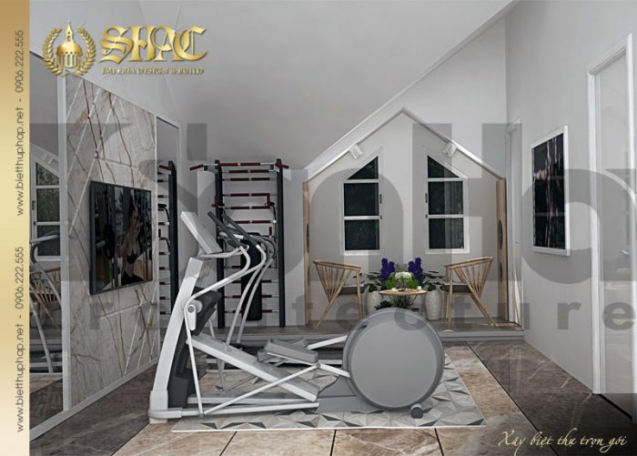 Phương án thiết kế nội thất phòng tập biệt thự tân cổ điển pháp thương hiệu SHAC