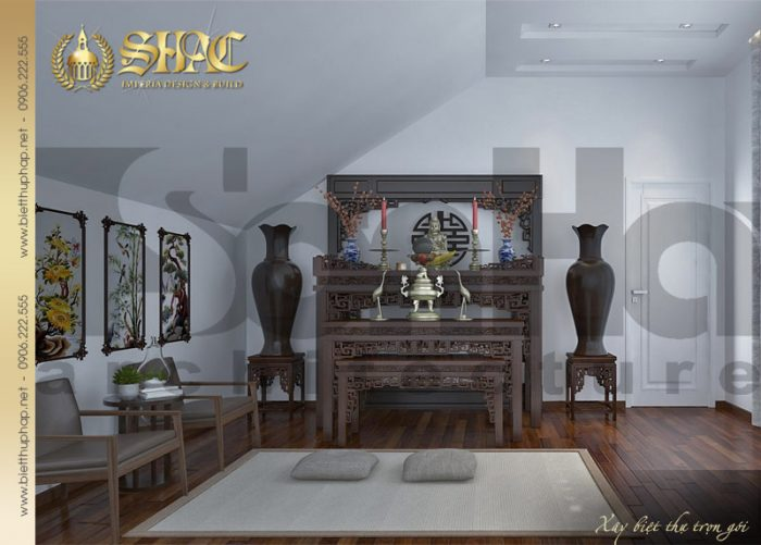 Phương án thiết kế nội thất phòng thờ linh thiêng của biệt thự tân cổ điển đẹp