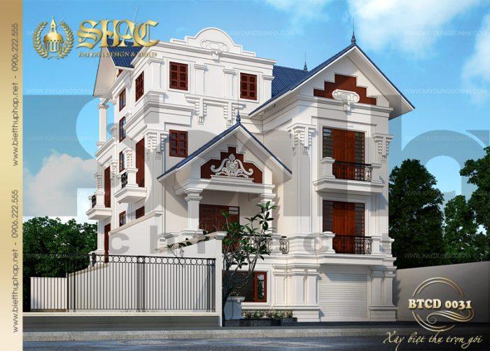 Kiến trúc mặt tiền đẹp của ngôi biệt thự 3 tầng phong cách tân cổ điển châu âu