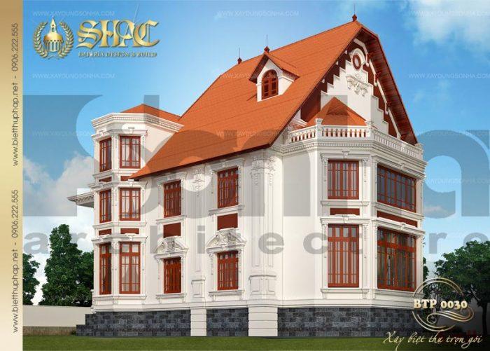Kiến trúc ngoại thất nổi bật của ngôi biệt thự phố 3 tầng được đánh giá cao