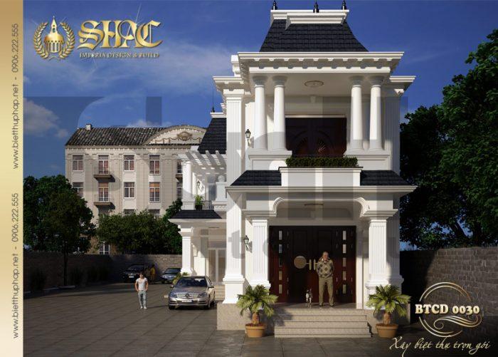 Kiến trúc mặt tiền đẹp của ngôi biệt thự tân cổ điển 2 tầng được yêu thích