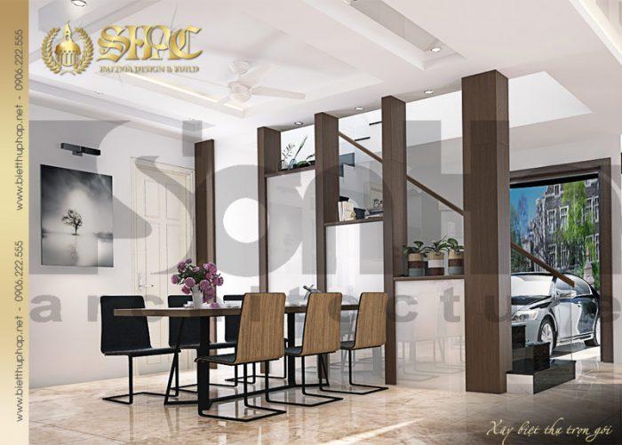 Phương án thiết kế nội thất phòng bếp ăn đẹp của biệt thự tân cổ điển 2 tầng tại Hải Phòng