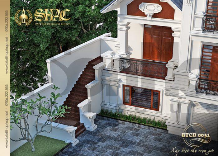 Thiết kế sân vườn tinh tế kết hợp có duyên với kiến trúc ngoại thất biệt thự tân cổ điển