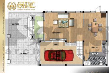 4 Mặt bằng công năng tầng 1 biệt thự pháp cổ tại hải phòng sh btp 0031