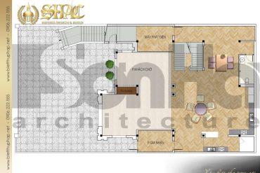 4 Mặt bằng công năng tầng trệt biệt thự tân cổ điển đẹp tại quảng ninh sh btcd 0031