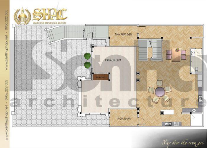 Cách bố trí công năng tầng trệt biệt thự phong cách tân cổ điển sang trọng tại Quảng Ninh
