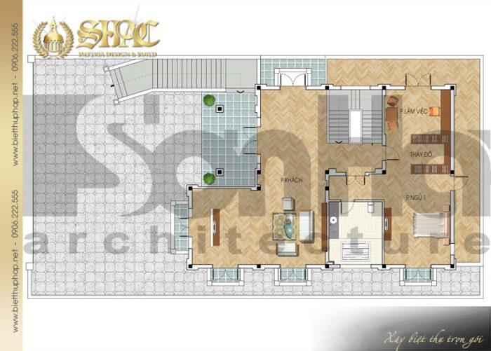 Cách bố trí công năng tầng 1 biệt thự phong cách tân cổ điển sang trọng tại Quảng Ninh