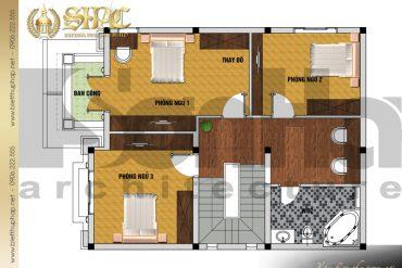 5 Mặt bằng công năng tầng 2 biệt thự pháp đẹp tại hải phòng sh btp 0031