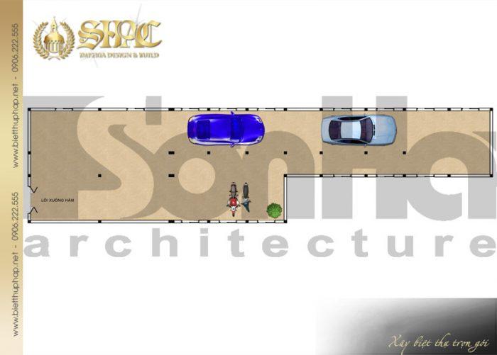 Bản vẽ mặt bằng công năng tầng hầm biệt thự 2 tầng phong cách tân cổ điển tại Cà Mau