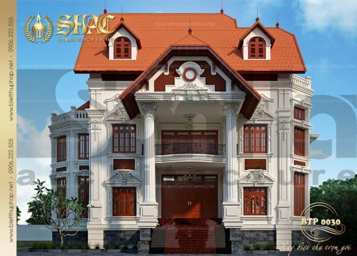 Phương án thiết kế kiến trúc biệt thự phố cổ điển pháp 3 tầng mãn nhãn