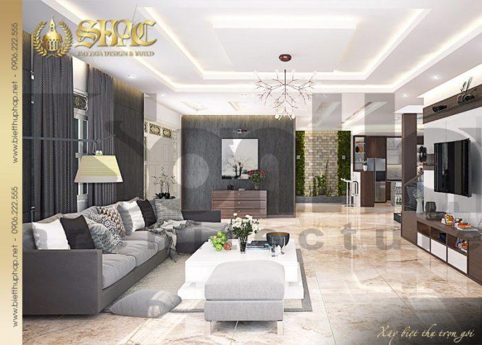 Mẫu thiết kế nội thất phòng khách biệt thự tân cổ điển 2 tầng sang trọng và tiện nghi