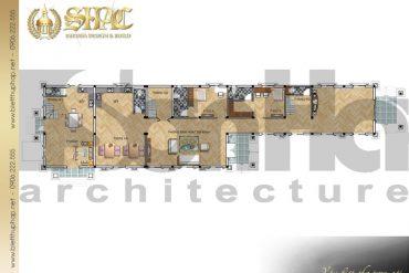 6 Mặt bằng công năng tầng 1 biệt thự tân cổ điển pháp tại cà mau sh btcd 0030