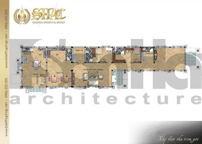 Bản vẽ mặt bằng công năng tầng 1 biệt thự phong cách tân cổ điển đẹp tại Cà Mau