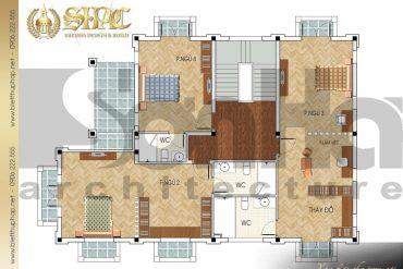 6 Mặt bằng công năng tầng 2 biệt thự tân cổ điển đẹp tại quảng ninh sh btcd 0031