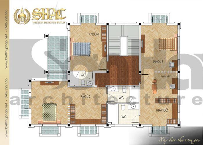 Cách bố trí công năng tầng 2 biệt thự phong cách tân cổ điển đẹp mắt tại Quảng Ninh
