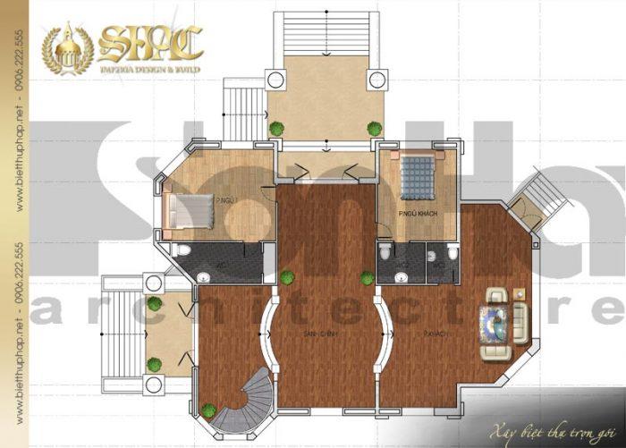 Bố trí công năng tầng 1 biệt thự phố 3 tầng kiến trúc cổ điển pháp đẹp tại Đồng Nai