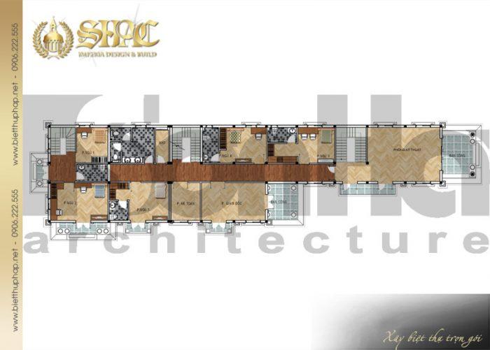 Bản vẽ mặt bằng công năng tầng 2 biệt thự phong cách tân cổ điển đẹp và sang trọng