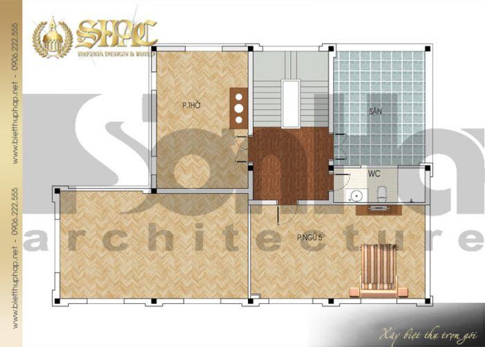 Cách bố trí công năng tầng 3 biệt thự phong cách tân cổ điển đẹp mắt tại Quảng Ninh